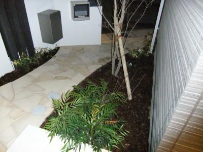玄関タイルに覆いかぶさる植栽
